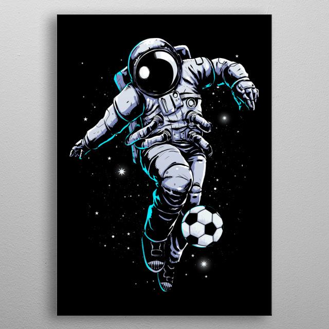 Space soccer metal poster