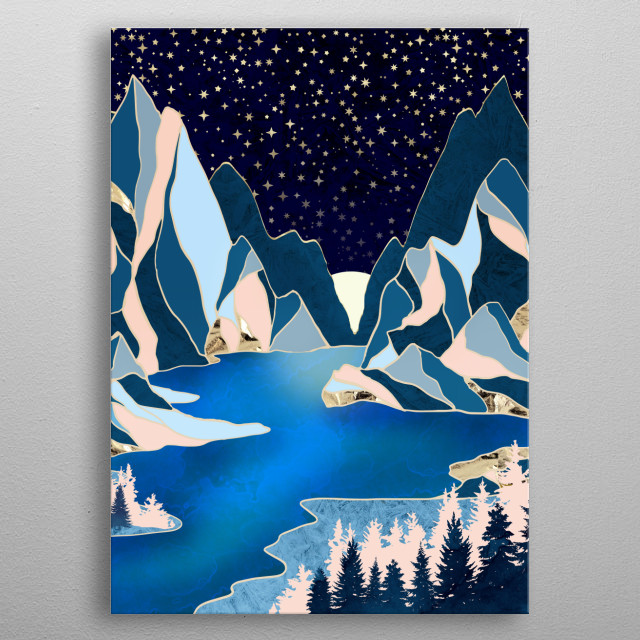 Abstract landscape of star peaks with mountains, trees, water and gold metal poster