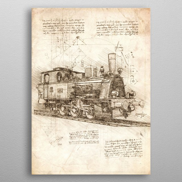 Sketch of a Locomotive metal poster