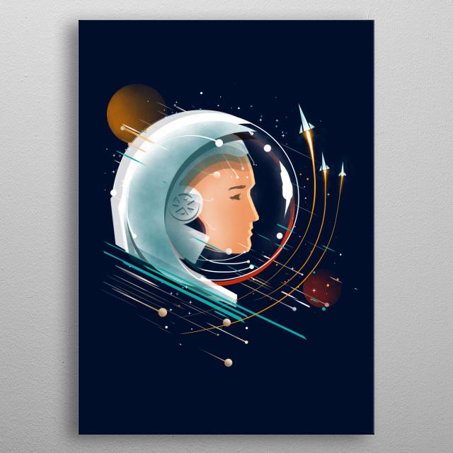 retro future cosmonaut metal poster