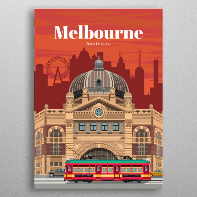 Digital illustration of Melbourne's skyline and heritage architecture and its famous tram line.   metal poster