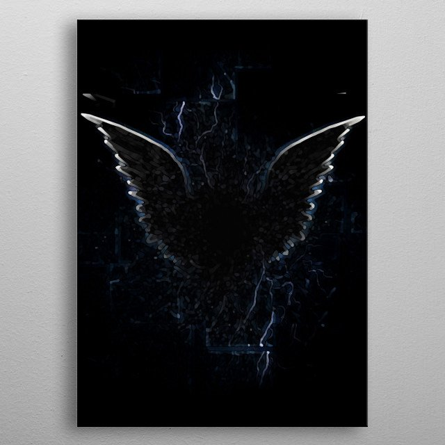 Outline of winged creature. Spiritual art metal poster
