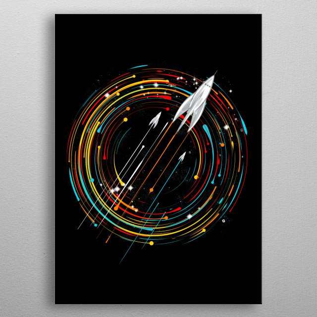 space travel is cool metal poster