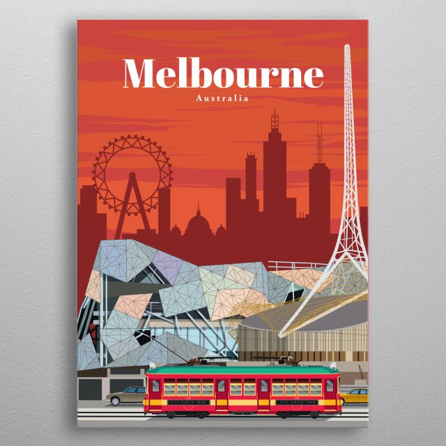 Digital illustration of Melbourne's skyline and its contemporary architecture, along with its famous public transit - the tram.  metal poster