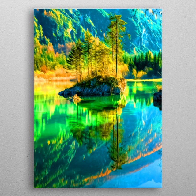 A rock sticking out of a lake. metal poster