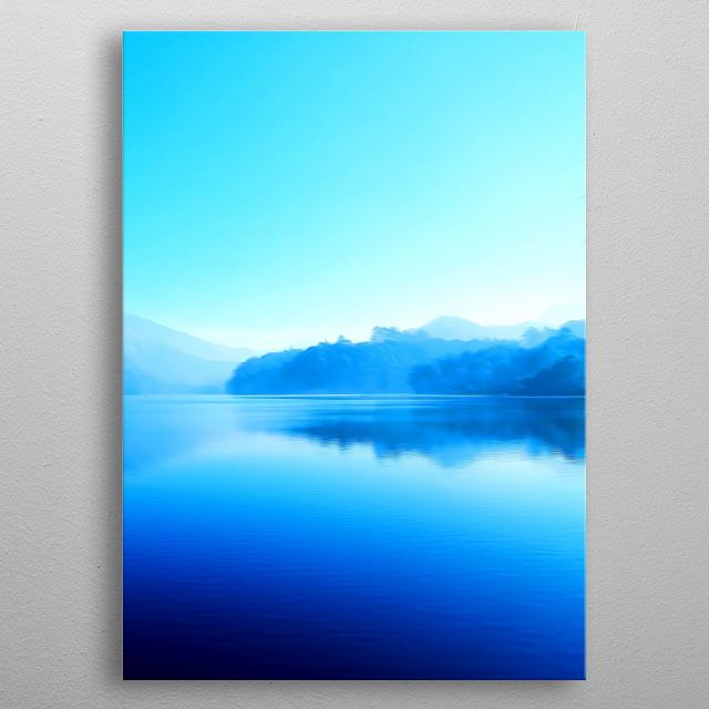 Fog rises over a blue lake. metal poster