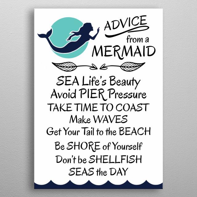 Cute bathroom design featuring mermaid advice.   metal poster