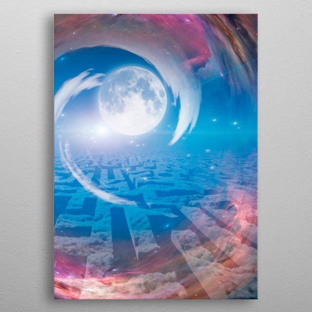 Maze from clouds, tunnel to the moon metal poster