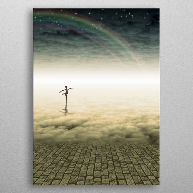 Ballerina dancing on a clouds. Edge of space metal poster