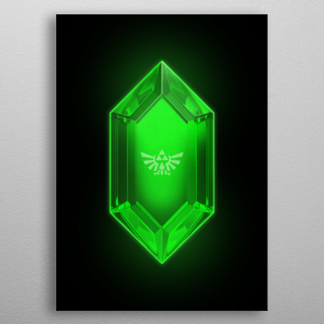 3D Green rupee from Zelda for the fans! metal poster