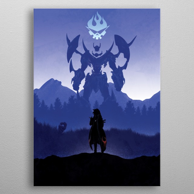 Illustration of Gurren Lagann metal poster