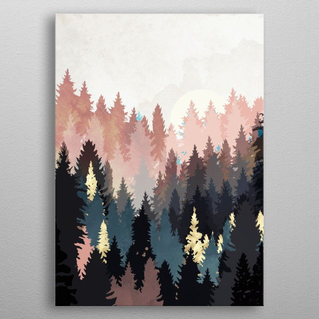 Abstract landscape of spring forest light with gold, blue, brown and pink metal poster