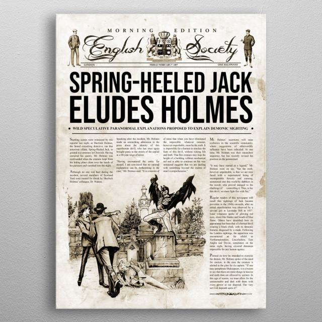 Sherlock Holmes Investigates Spring-Heeled Jack newspaper metal poster