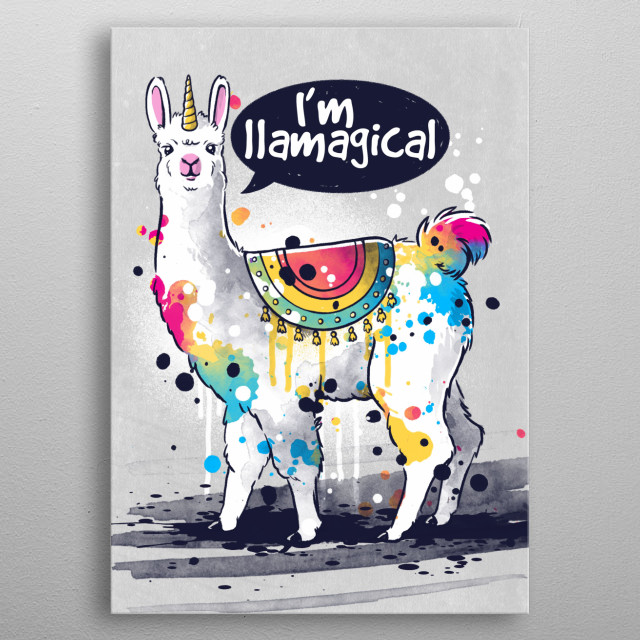 llama metal poster