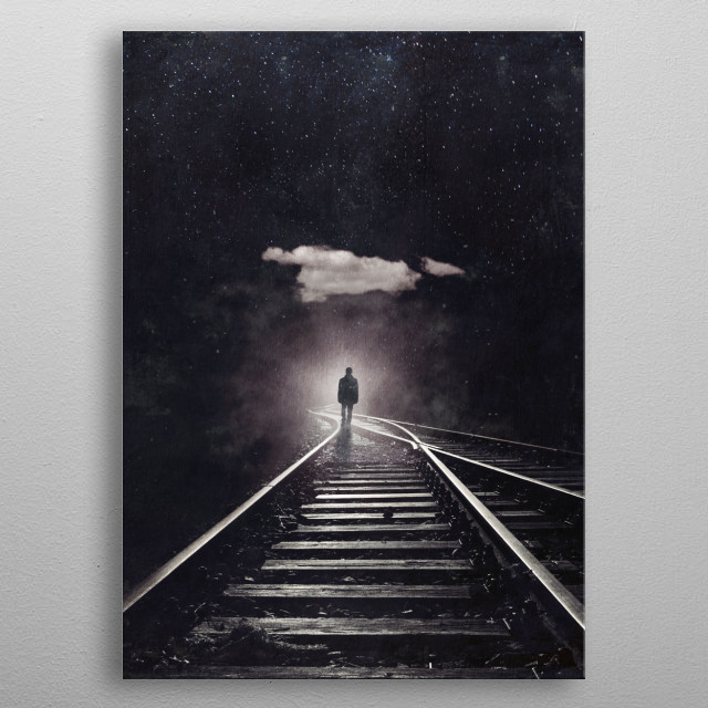 Man walking on an abandoned railways towrds an ominous light metal poster