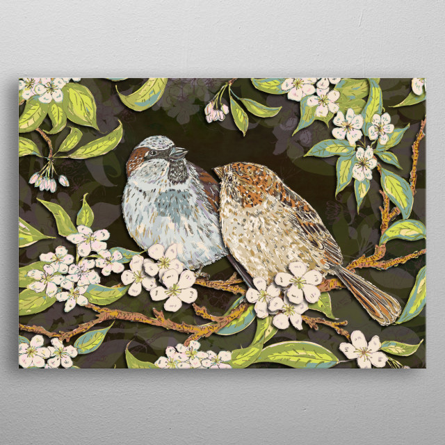 A pair of sweet sparrows sitting in amongst blossom in a plum tree - pretty little garden birds! Art is created digitally from pen drawings. metal poster