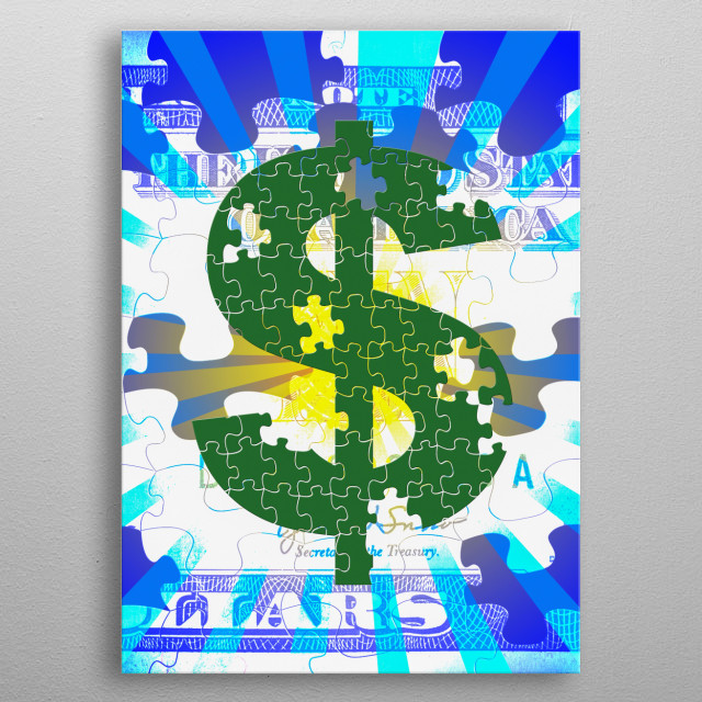 Dollar sign with puzzle pattern metal poster
