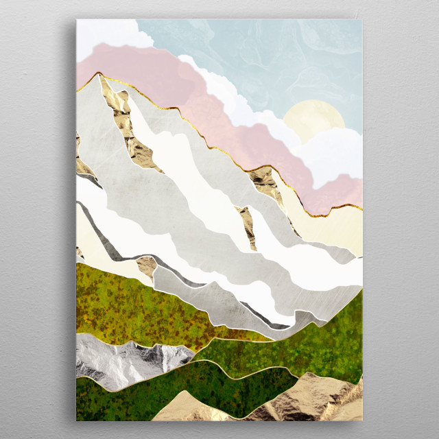 Abstract landscape of a spring mountain with pink, gold, blue, white, green and grey metal poster