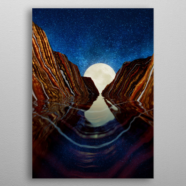 Abstract landscape of a moon reflection with water, mountains, stars, blue and gold metal poster