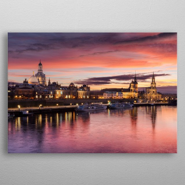Red sunset over Dresden, Germany metal poster