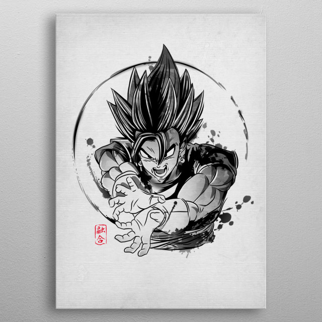 Vegetto in japanese ink style metal poster
