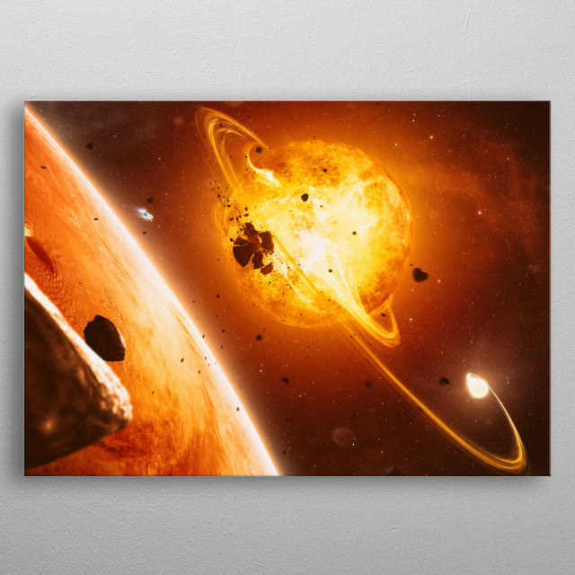 A dying system somewhere in space. metal poster