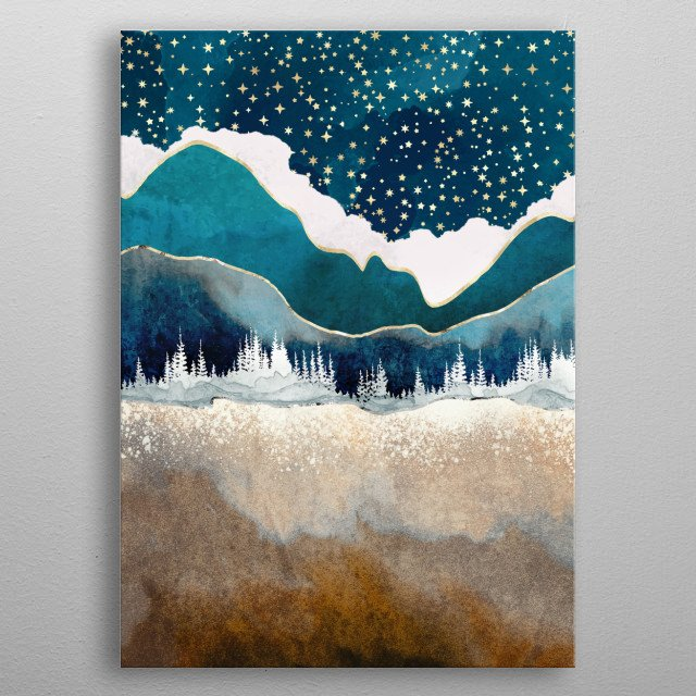 Abstract landscape depicting a late winter scene with trees, mountains, gold, blue and stars metal poster