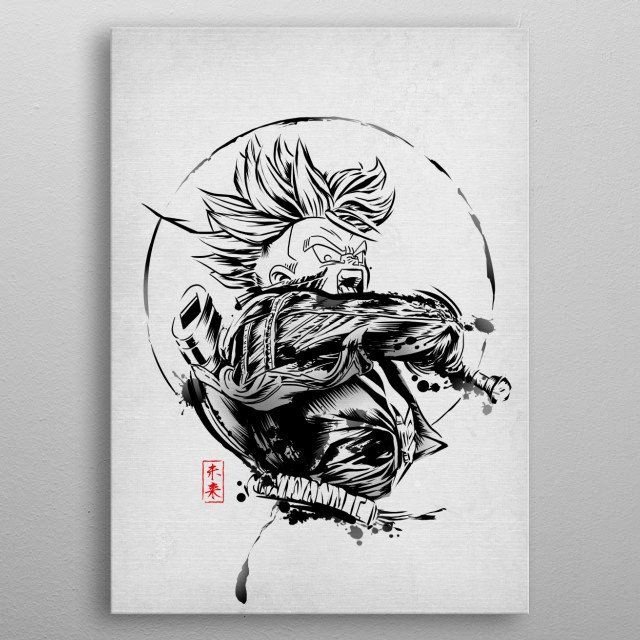 Trunks in japanese ink style metal poster