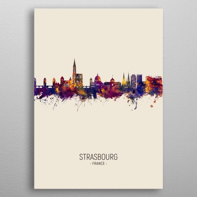 Watercolor art print of the skyline of Strasbourg, France metal poster