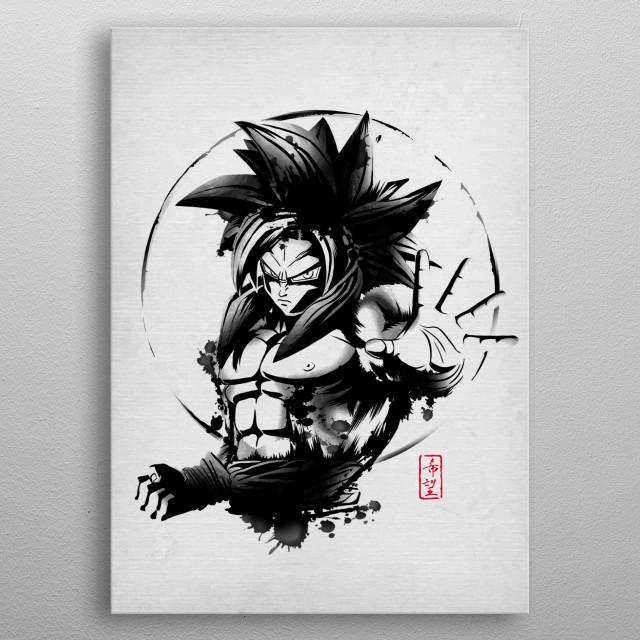 Goku SSJ$ in japanese ink style metal poster