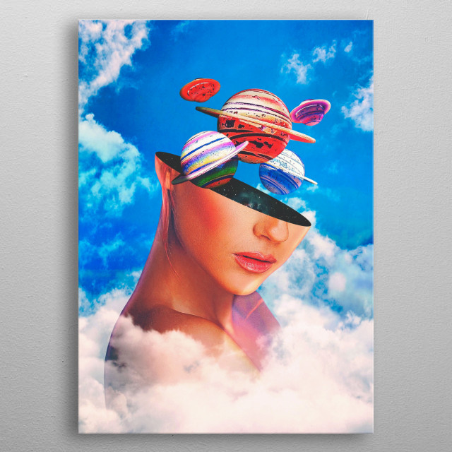 surreal digital scifi collage  metal poster
