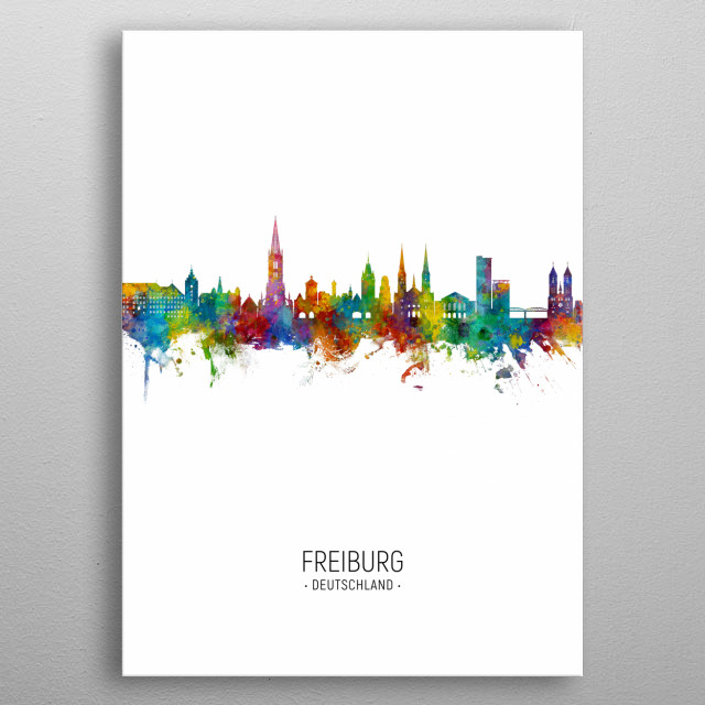 Watercolor art print of the skyline of Freiburg, Germany metal poster