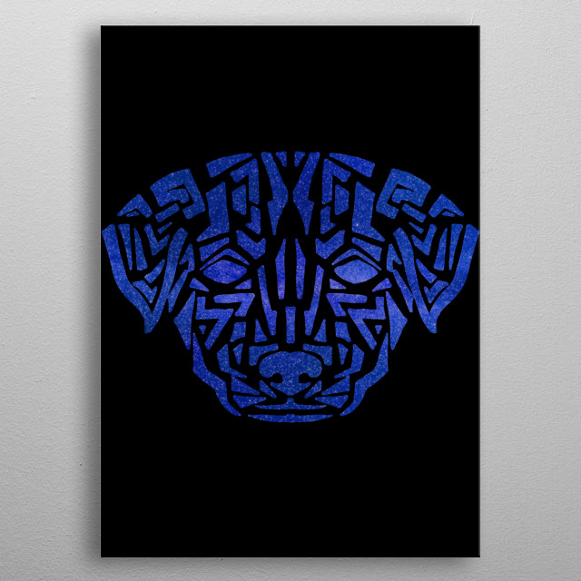 This artwork is for anyone who loves dogs, doggies, puppies, canines, space, cosmos, universe, galaxy, tribal patterns and tribal art. metal poster
