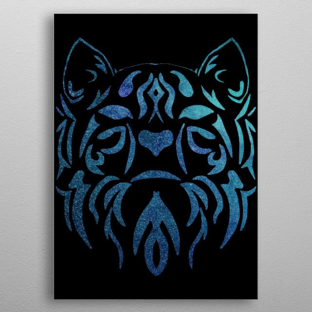 This art is for anyone who loves cats, kittens, kitties, felines, space, cosmos, universe, galaxy, tribal pattern and tribal art in general. metal poster