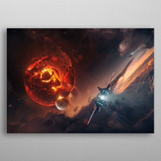 Space themed artwork with an exploding planet.  metal poster