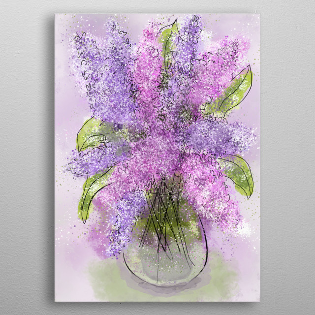 Whimsical floral digital still-life painting of pretty purple and pink spring lilac flowers in a vase. metal poster
