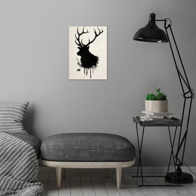 Elk wall art is showcased in interior