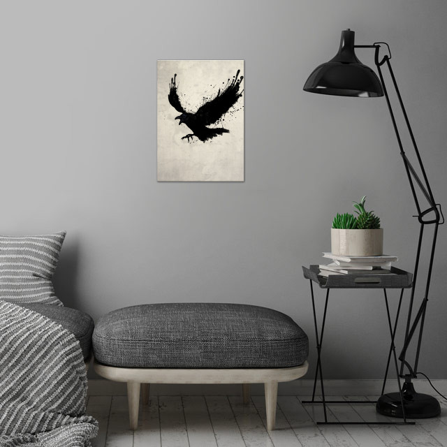 The Raven wall art is showcased in interior