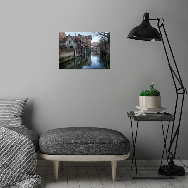 Canal, Bruges wall art is showcased in interior