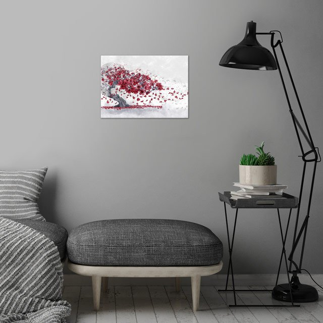 Cherry blossom wall art is showcased in interior