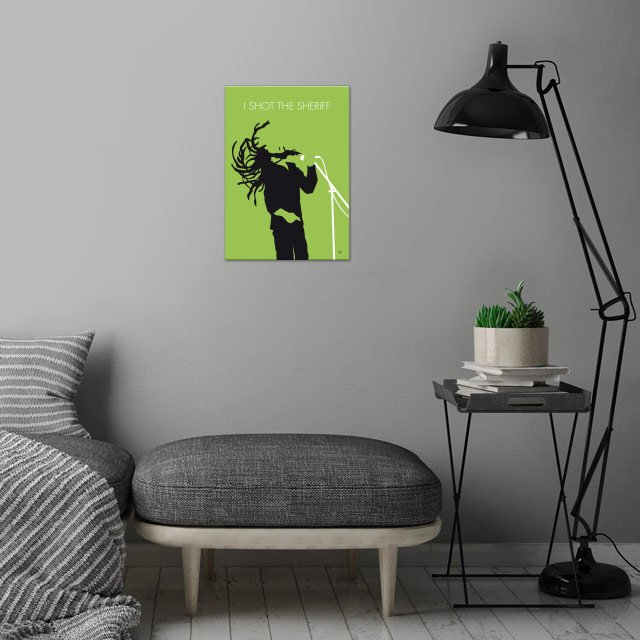 No016 MY Bob Marley Minimal Music poster wall art is showcased in interior