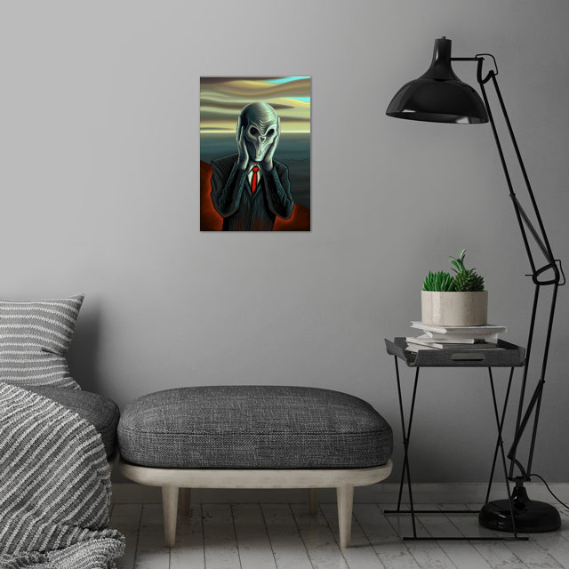Silent Scream - Portrait of the Silence, an alien creature from the science fiction television series Doctor Who. Mixed with the famous painting the Scream by Edvard Munch. wall art is showcased in interior