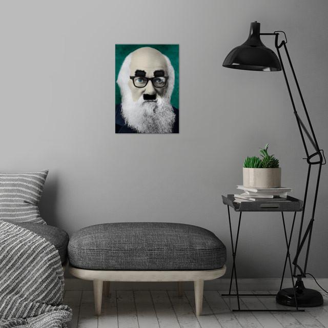 Comedy Darwin wall art is showcased in interior