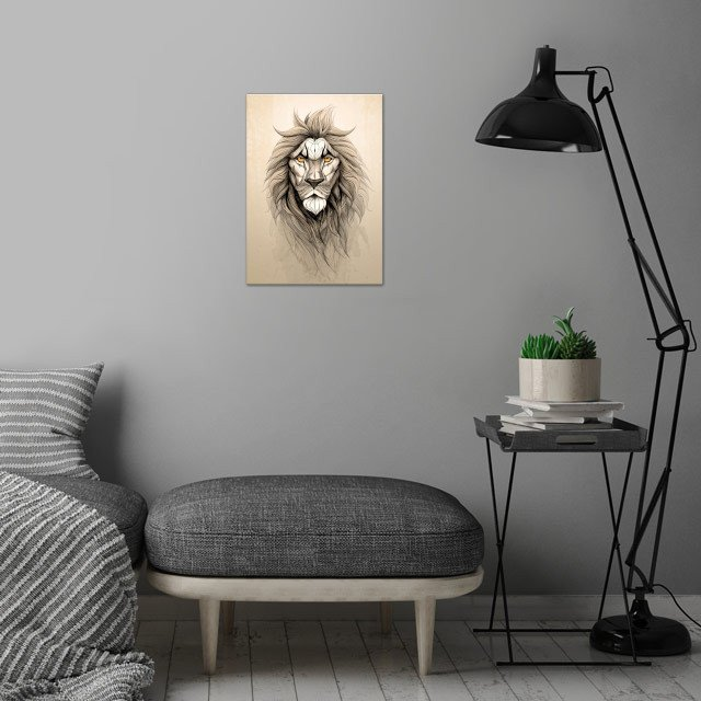 The Lion wall art is showcased in interior