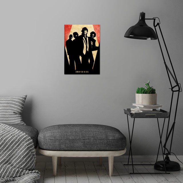 Symphaty for the Devil wall art is showcased in interior