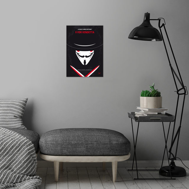 No319 My V for Vendetta minimal movie poster In a futur... wall art is showcased in interior