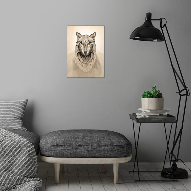 Wolf wall art is showcased in interior