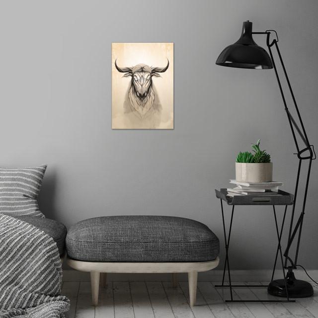 Deer Bull wall art is showcased in interior