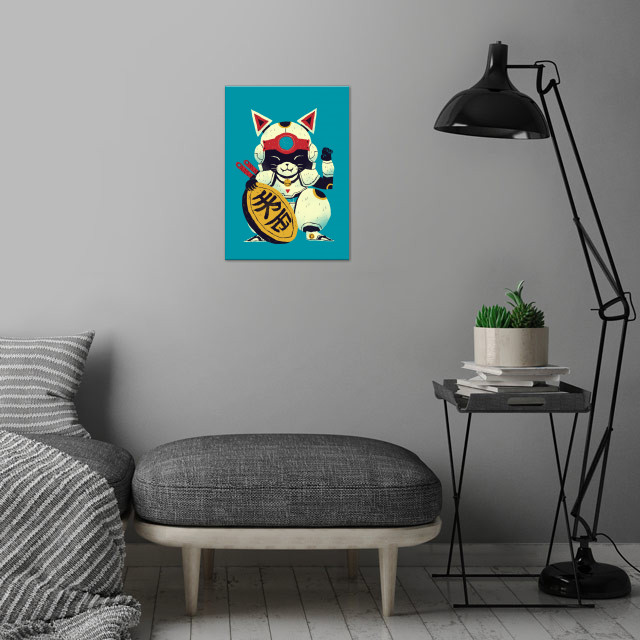 lucky pizza cat wall art is showcased in interior