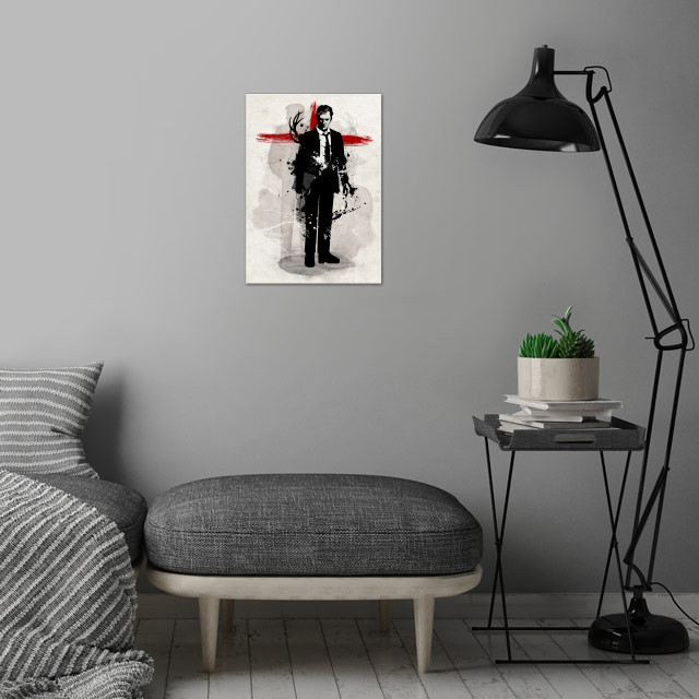 Detective wall art is showcased in interior